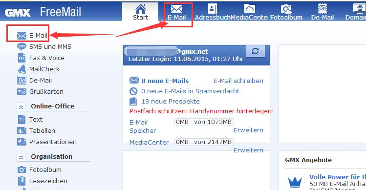 facebook login gmx